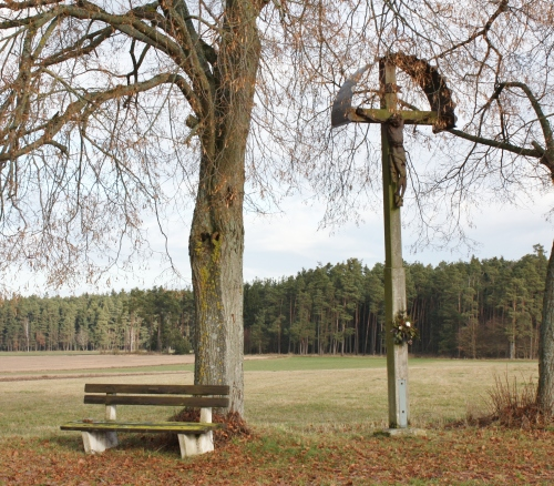 Bench and cross near kaltenbrunn