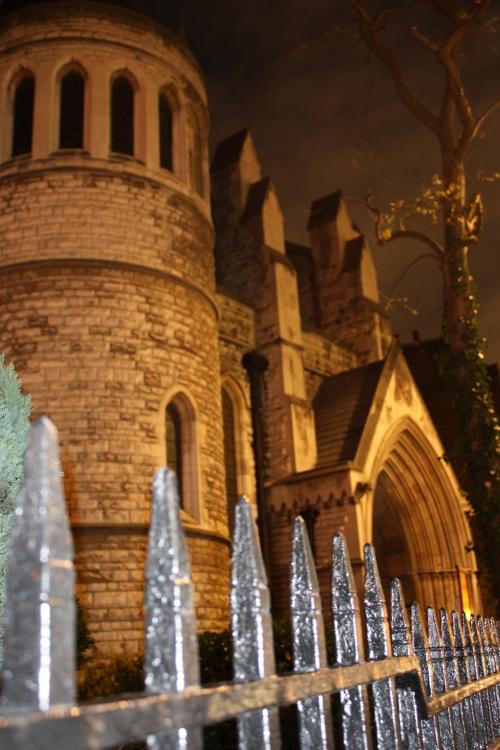 St James Catholic Church at night