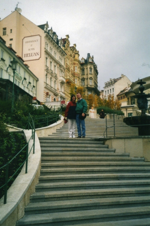 On the steps in Karlovy Vary  John and Patti