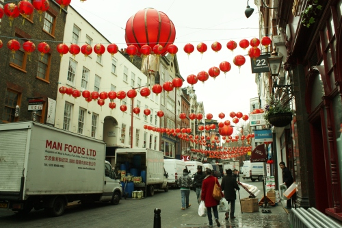 London's Chinatown getting ready for New Year celebrations.