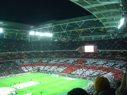 English Flag made by the fans
