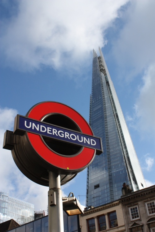 Looking up at The Shard from London Bridge Tube Station