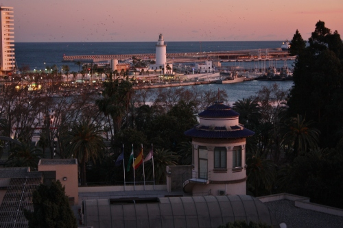 Sunset in Málaga ~ lighhouse at Pier