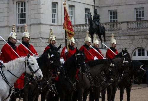 Horse Guards with Wolseley Statue in background
