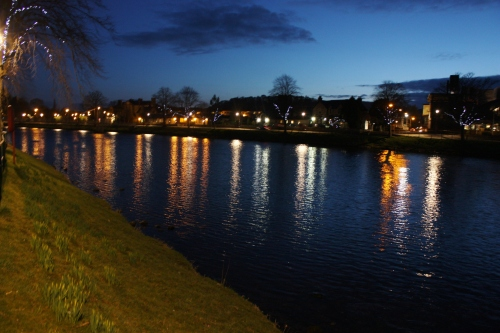 Along the Ness River at night