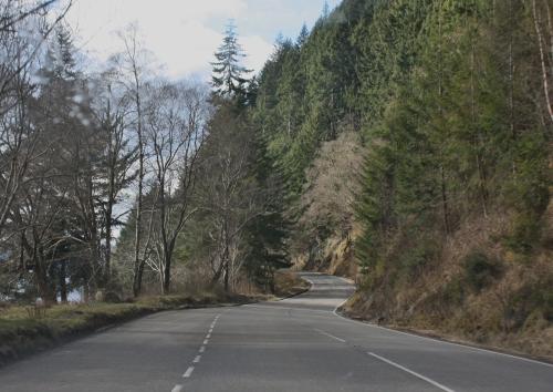 Driving along Loch Ness