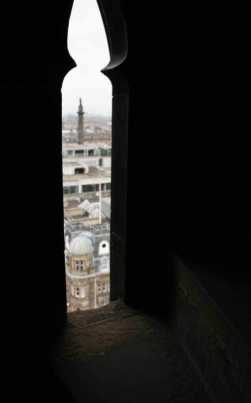 View through a window along the spiral staircase