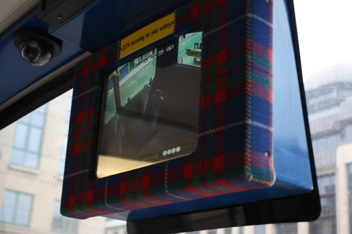 Love seeing Tartan everywhere ~ including on the public bus CCTV screen