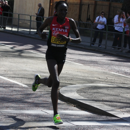 Effortlessly Gliding at the 25 mile mark of the London Marathon