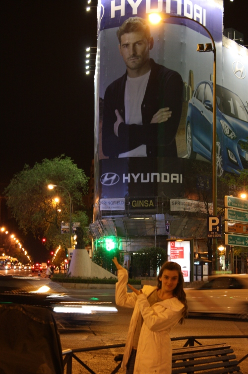 Logan and a larger than life Iker (her favorite football player) in Madrid