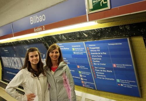 With Logan at the Bilbao Metro stop in Madrid