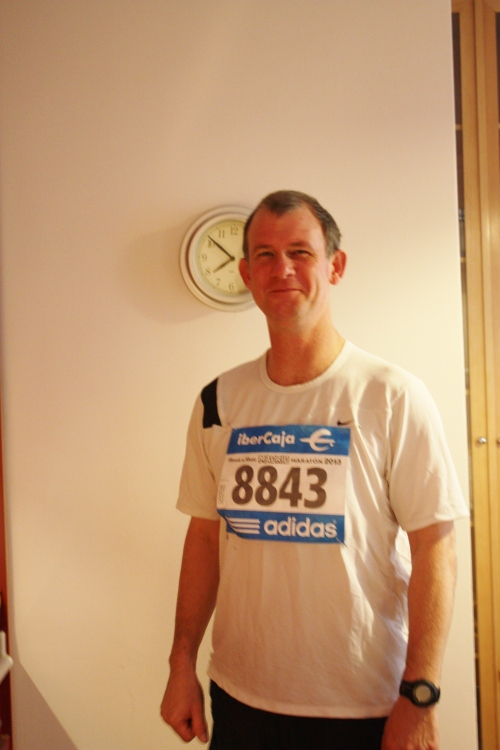 JP getting ready to head out for the Madrid Marathon