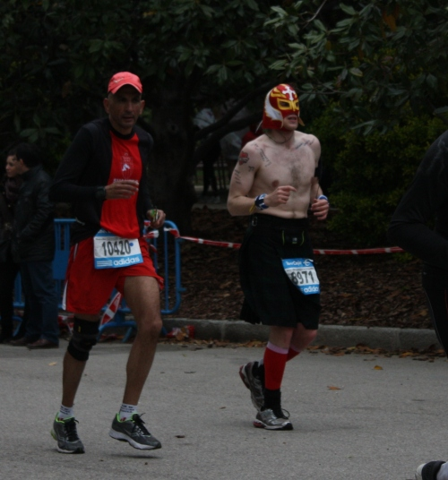 Nacho Libre (?) at the end of the Madrid Marathon