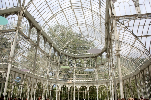 Palacio de Cristal ~ the color discs hanging from the ceiling are part of the Modern Art Exhibit