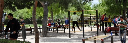 Whole lot of exercising going on in this part of the park, Parque del Buen Retiro, Madrid