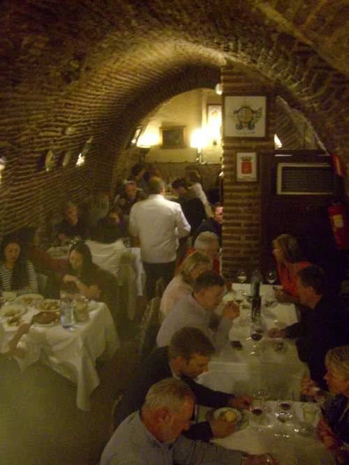 Cellar seating at Botin Restaurant, Madrid ~ considered the oldest restaurant in the world