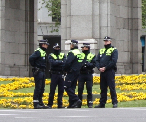 Police presence at the Madrid Marathon
