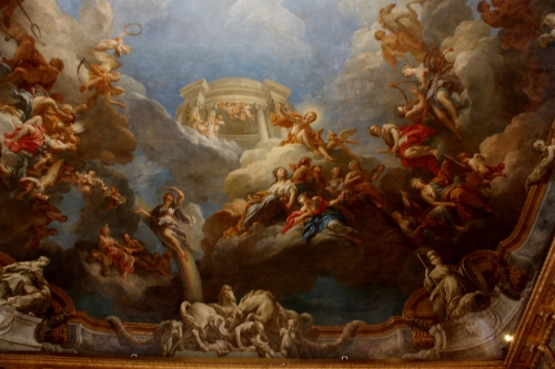 One of the ceiling paintings at Palace of Versailles