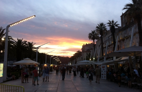 Along the promenade at sunset ~ located just outside of the Palace walls.
