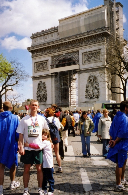 My husband and daughter at the end of the 2004 Paris Marathon