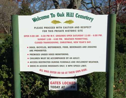 Oak Hill Cemetery's Welcome and Rules