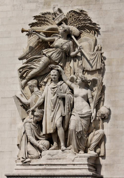 Beautiful relief on the Arc de Triomphe, Paris France