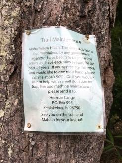 The trail is privately maintained and this flyer provides information on how to volunteer or send a donation