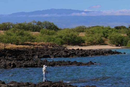 Mau'umae Beach hike ~ Ala Kahakai Trail Fisherman and mauna loa