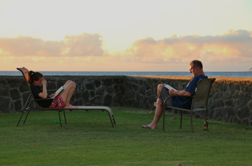 Puako John and Logan waiting on sunset