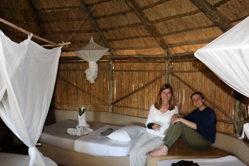 Umlani hut Patti and Logan